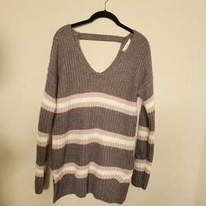 Pink Rose Sweaters - ❤Pink Rose Gray Knit/ Crochet Sweater